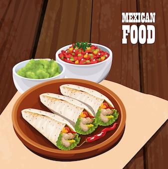 Cartaz de comida mexicana com burritos