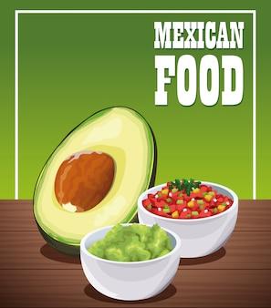 Cartaz de comida mexicana com guacamole