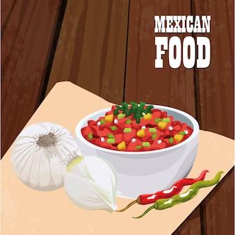 Cartaz de comida mexicana com legumes