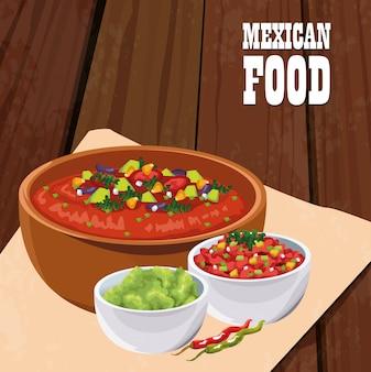 Cartaz de comida mexicana com salada de legumes