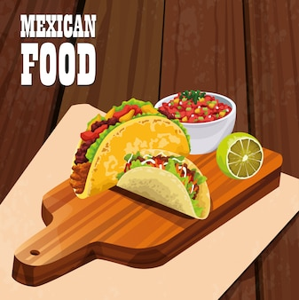 Cartaz de comida mexicana com tacos