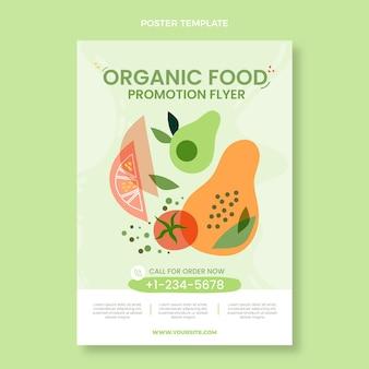 Cartaz de comida orgânica plana