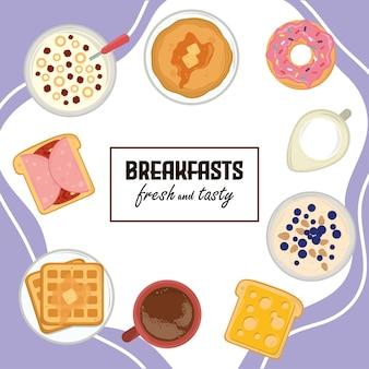 Cartaz de comida para o café da manhã