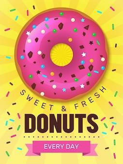 Cartaz de comida saborosa. projeto de cartaz de rosquinhas com modelo de sobremesas de produtos de panificação de alimentos coloridos de café da manhã.
