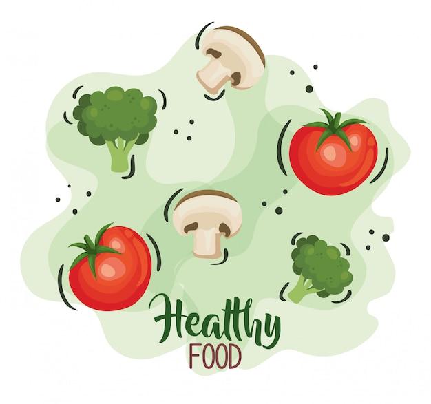 Cartaz de comida saudável com tomates e legumes