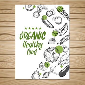 Cartaz de comida saudável de mão desenhada