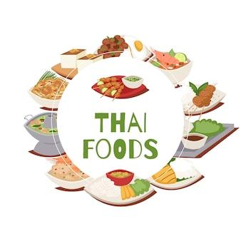 Cartaz de comida tailandesa com ilustração de culinária de tailândia, tom yam goong, comida asiática, pratos picantes tailandeses.