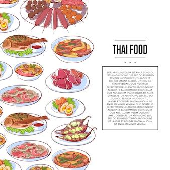 Cartaz de comida tailandesa com pratos de cozinha asiática