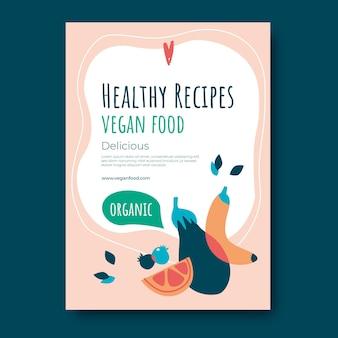 Cartaz de comida vegan de design plano