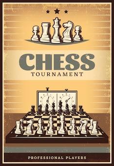 Cartaz de competição de xadrez vintage