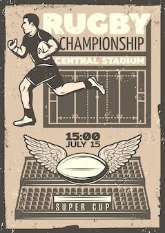 Cartaz de competição vintage de rúgbi