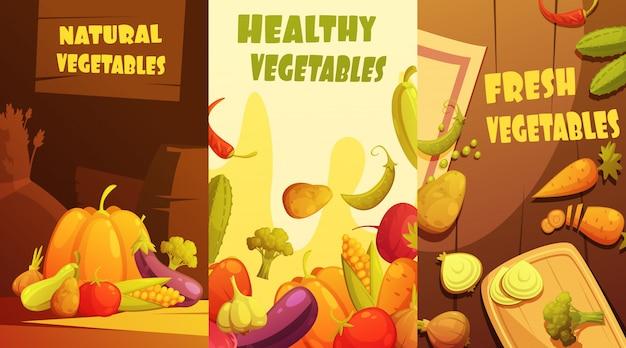 Cartaz de composição de banners verticais de legumes orgânicos saudáveis frescos mercado de agricultores
