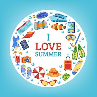 Cartaz de composição de círculo de conceito de férias de verão