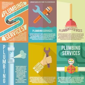 Cartaz de composição de ícones de encanamento