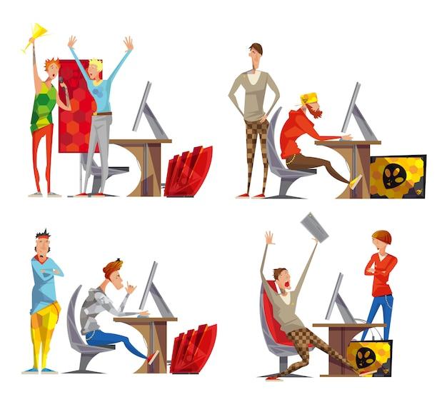 Cartaz de composição de ícones plana cybersport 4 com competindo jogos de videogame momentos de vitória esport