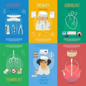 Cartaz de composição de ícones plana de medicina