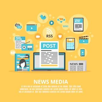 Cartaz de composição de ícones plana de mídia de notícias
