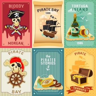 Cartaz de composição de ícones plana de pirata