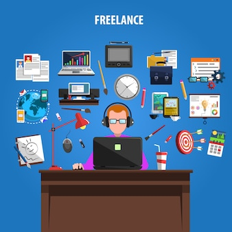 Cartaz de composição de pictogramas de conceito freelance