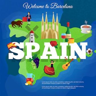 Cartaz de composição de símbolos culturais de espanha para viajantes com bandeira nacional e paella