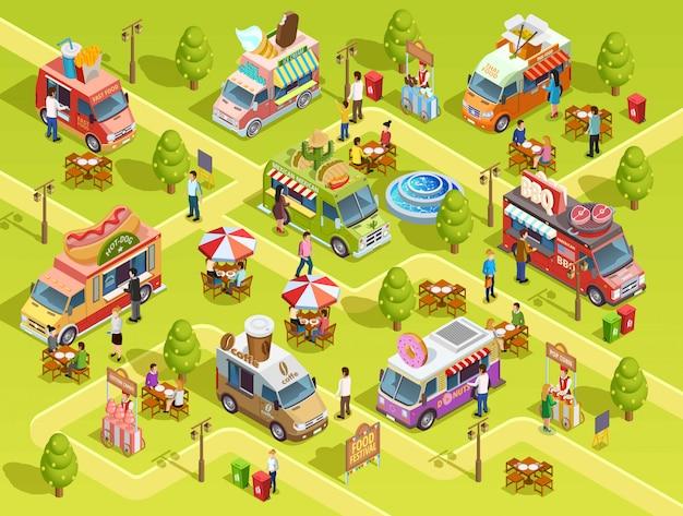 Cartaz de composição isométrica de caminhões de comida ao ar livre