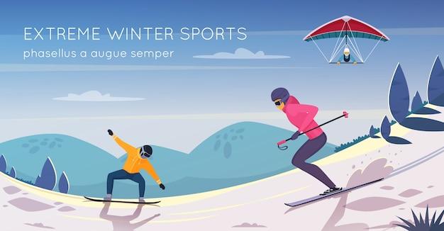 Cartaz de composição plana de atividades de esportes radicais com snowboard esqui e kitesurf