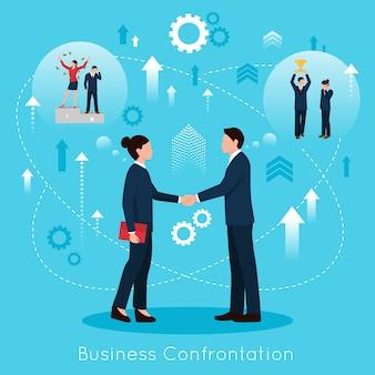 Cartaz de composição plana de confrontação de negócios construtivos