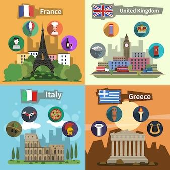 Cartaz de composição plana de marcos históricos