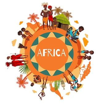 Cartaz de composição redonda de símbolos culturais africanos