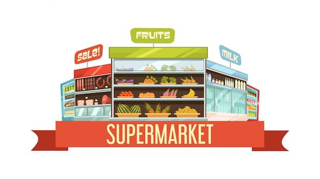 Cartaz de composição retrô de carrinho de exposição de supermercado com produtos lácteos e frutas prateleiras