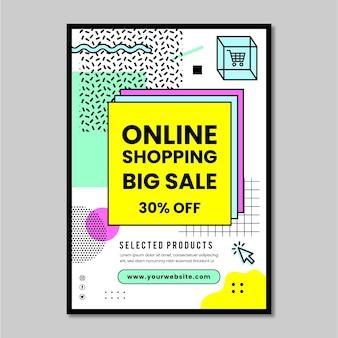 Cartaz de compras online com desconto