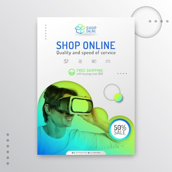 Cartaz de compras online gradiente