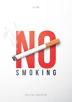 Cartaz de conceito com cigarro 3d realista e texto não fumadores.