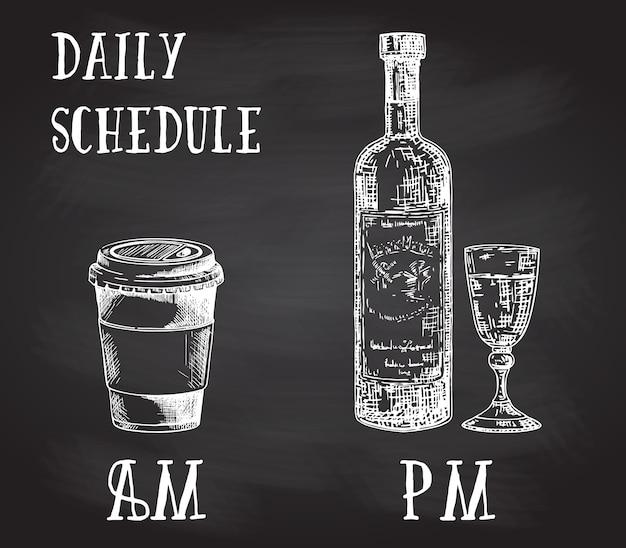 Cartaz de conceito com hábitos de consumo. café da manhã e álcool à noite. esboço desenhado de mão na lousa. xícara de café para viagem e garrafa de vinho com copo