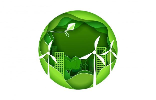 Cartaz de conceito de cidade eco em estilo de origami de arte de papel. cidade verde com turbinas de energia eólica. sinal redondo