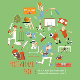 Cartaz de conceito de esportes equipe competitiva profissional