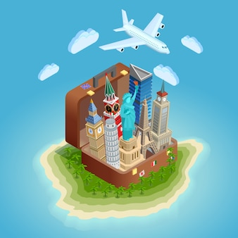 Cartaz de conceito itinerante com marcos