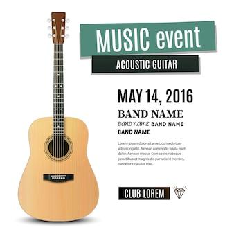 Cartaz de concerto de música com violão. ilustração
