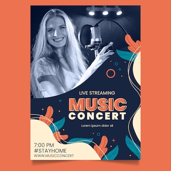 Cartaz de concerto de música de transmissão ao vivo