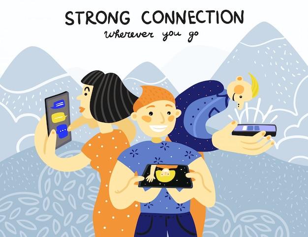 Cartaz de conexão de telefones celulares