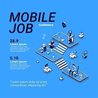 Cartaz de conferência de trabalho móvel.