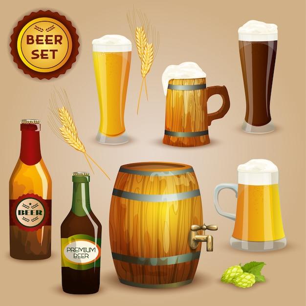 Cartaz de conjunto de composição de ícones de cerveja