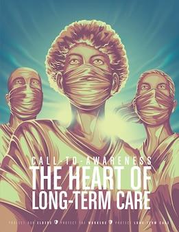 Cartaz de conscientização de trabalhadores de cuidados de longo prazo
