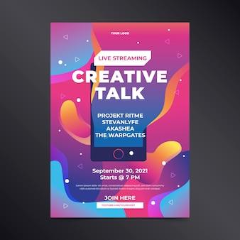 Cartaz de conversa criativa de transmissão ao vivo de mão desenhada