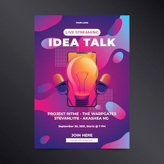 Cartaz de conversa de idéia de transmissão ao vivo desenhada à mão