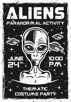 Cartaz de convite de alienígenas para festa temática à fantasia