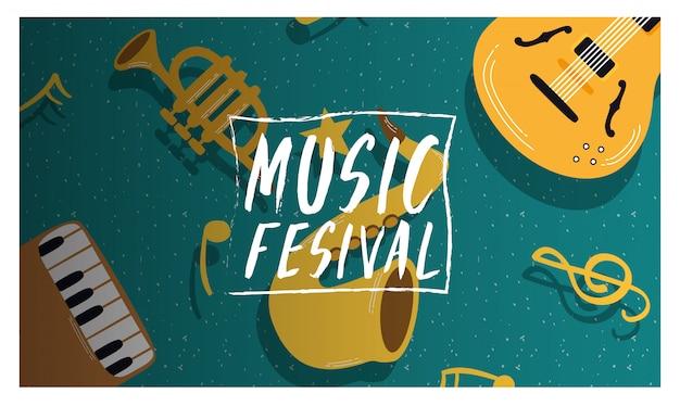 Cartaz de convite de entretenimento festival de música