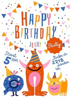 Cartaz de convite de festa de aniversário com monstros engraçados em chapéus de cone, endereço de tempo, ilustração de decorações festivas