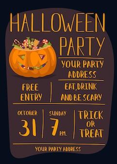Cartaz de convite de festa de halloween com abóbora assustadora