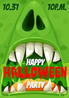 Cartaz de convite para festa de halloween do monstro zumbi da noite de terror